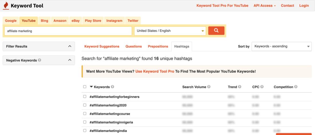 Keyword Research (Hashtags) for Youtube using KeywordTool.io