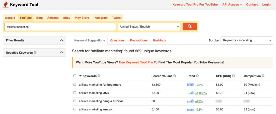 Keyword Research for Youtube using KeywordTool.io
