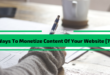 Ways To Monetize Content Of Your Website