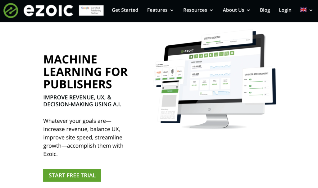 Ezoic - Best ad network for publishers