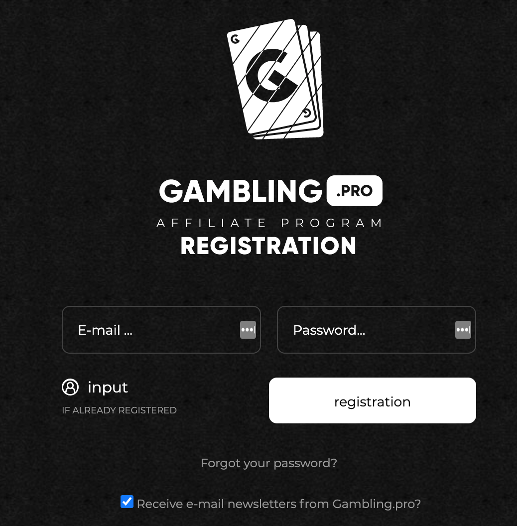 Register an account on Gambling.pro