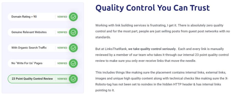 LinksThatRank - Quality of Sites