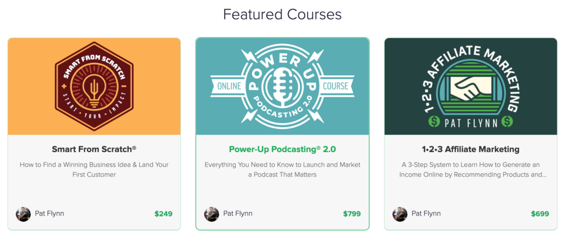 Pat Flynn sell courses from $249 to $999