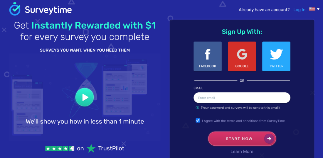 SurveyTime.io - Paying survey website