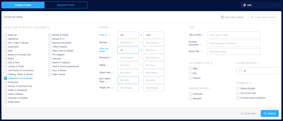 IOScout review: Product Finder - Filters