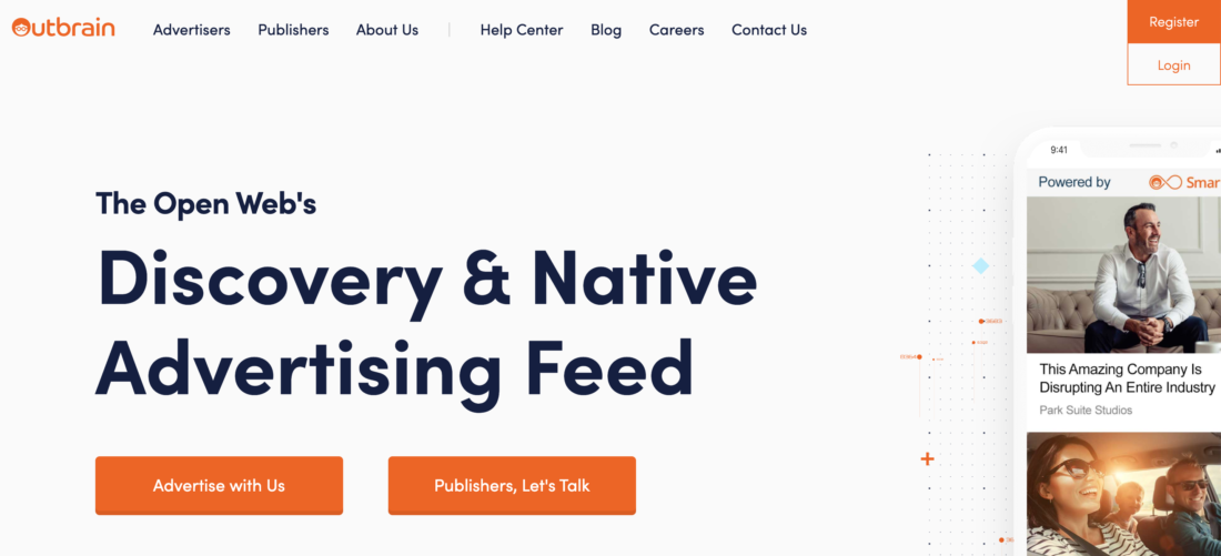 Homepage screenshot of the Outbrain Native Advertising Platform