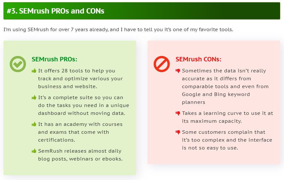 SEMrush PROs and CONs - Affiliate Product Review Example