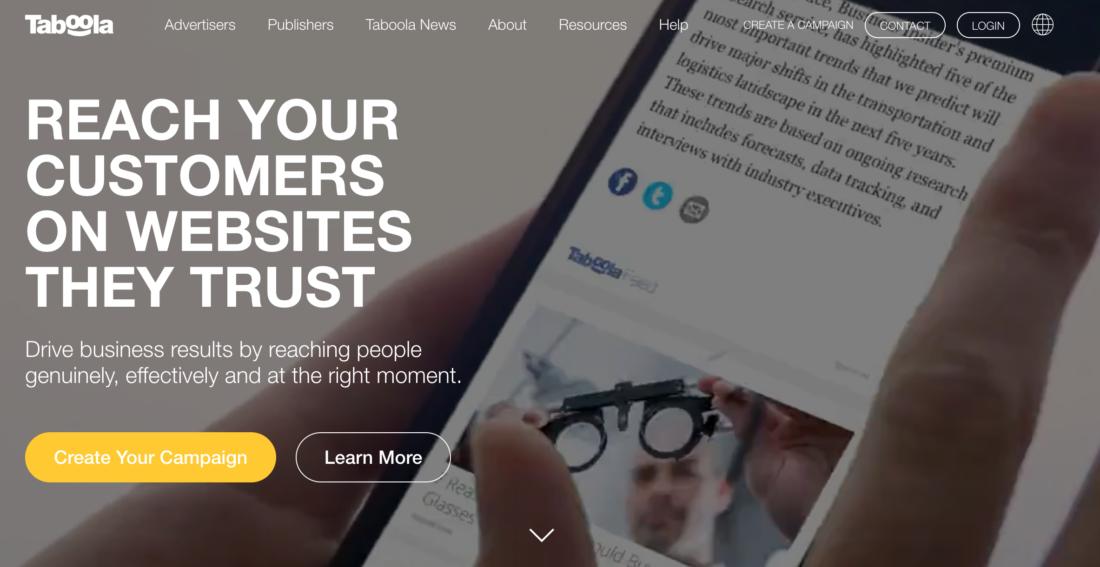 Homepage screenshot of Taboola Native Advertising Platform