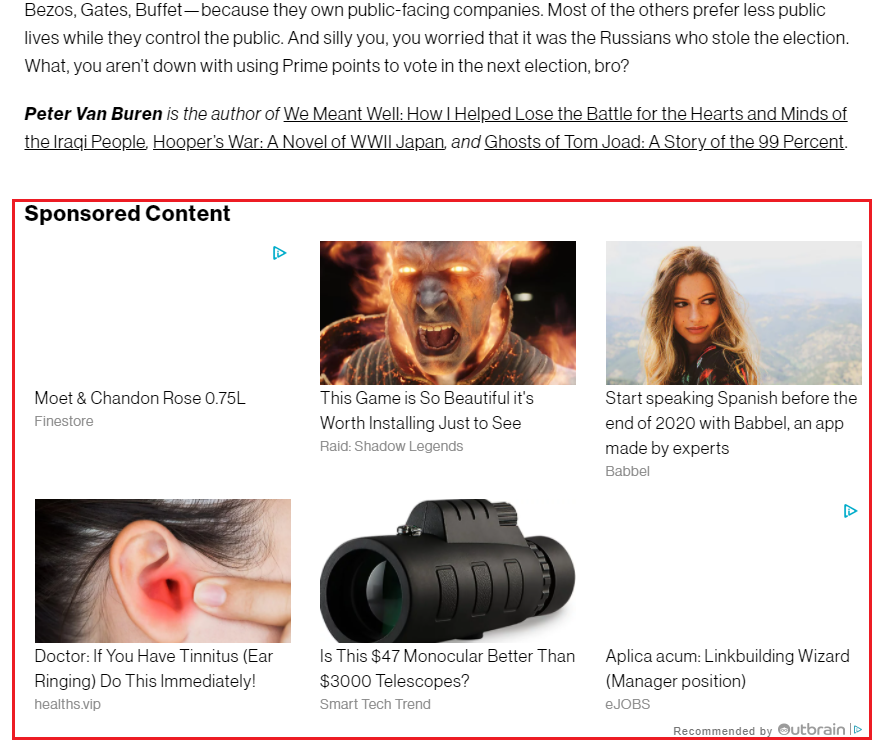 Example of Native Advertising on a Content website