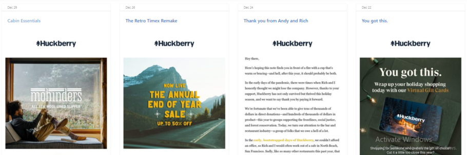 Huckberry Email Newsletter Example