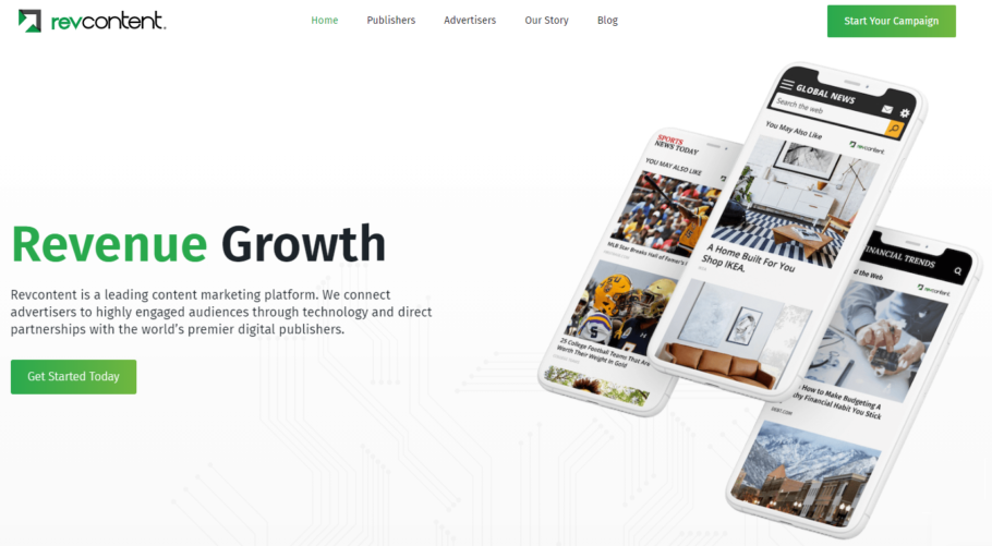 Homepage screenshot of the RevContent Native Advertising Network