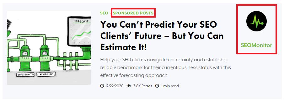 Sponsored Blog Post Example