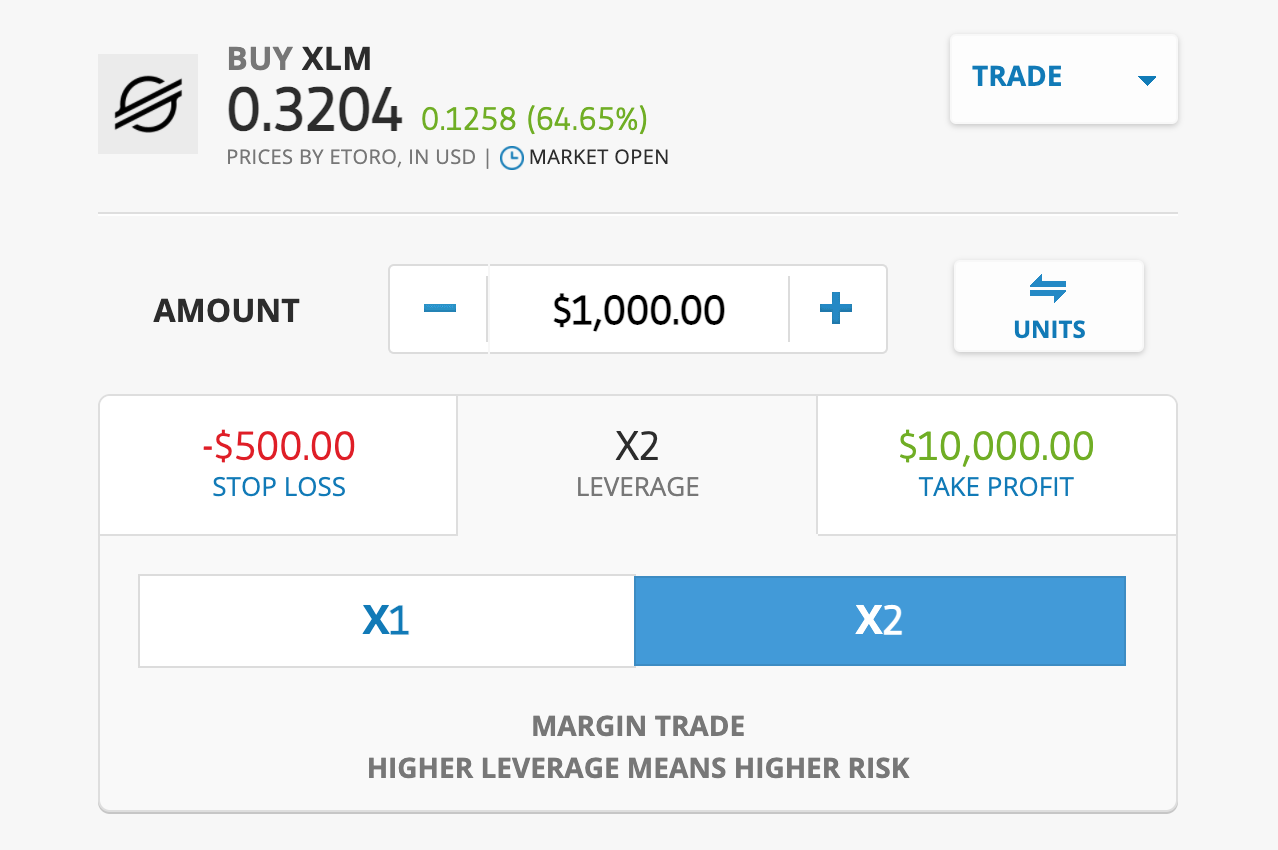 Trade Stellar XLM on eToro