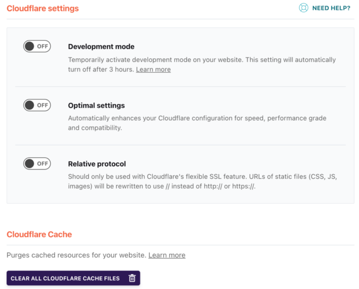 WP Rocket Cloudflare Settings