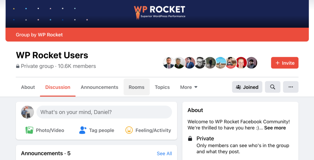 Join the WP Rocket Support Group on Facebook