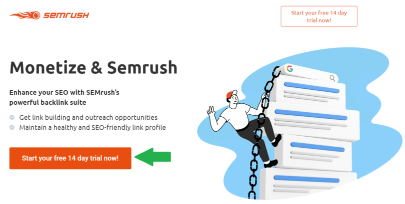 Get a FREE Semrush PRO account for 14 days - Step 1