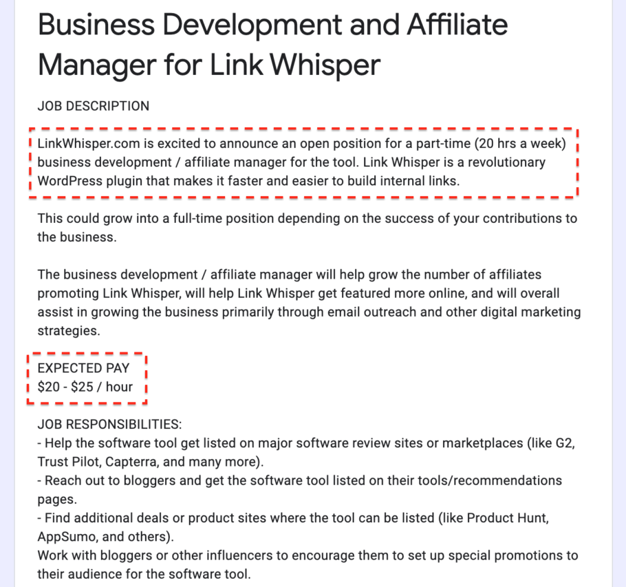 Affiliate Marketing Manager Job Ad