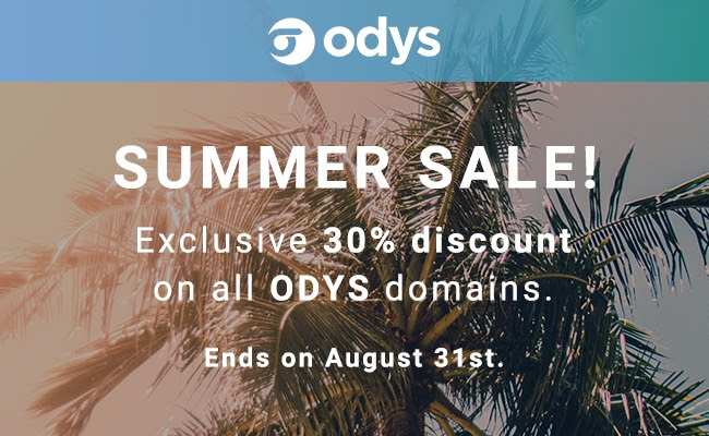 Get a 30% discount on all ODYS domains till Aug 31