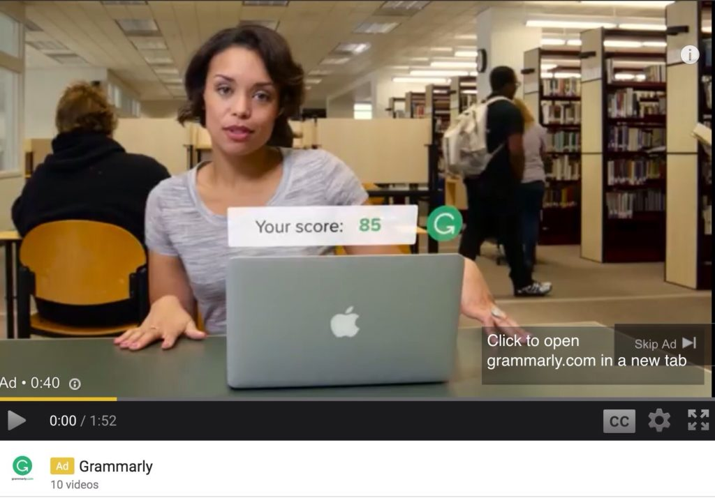Video ad example - Grammarly