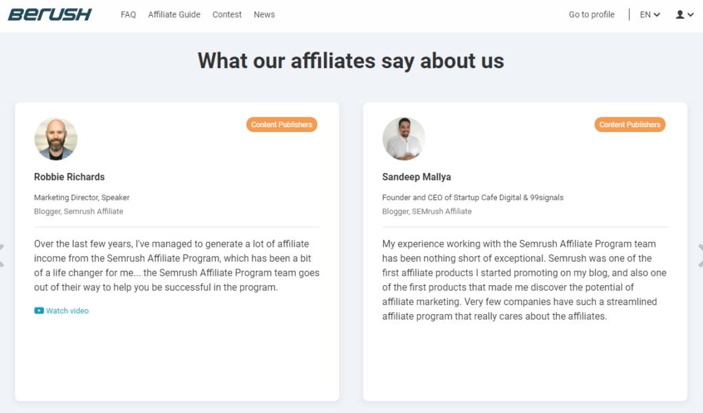 Affiliate Marketing Program Testimonials