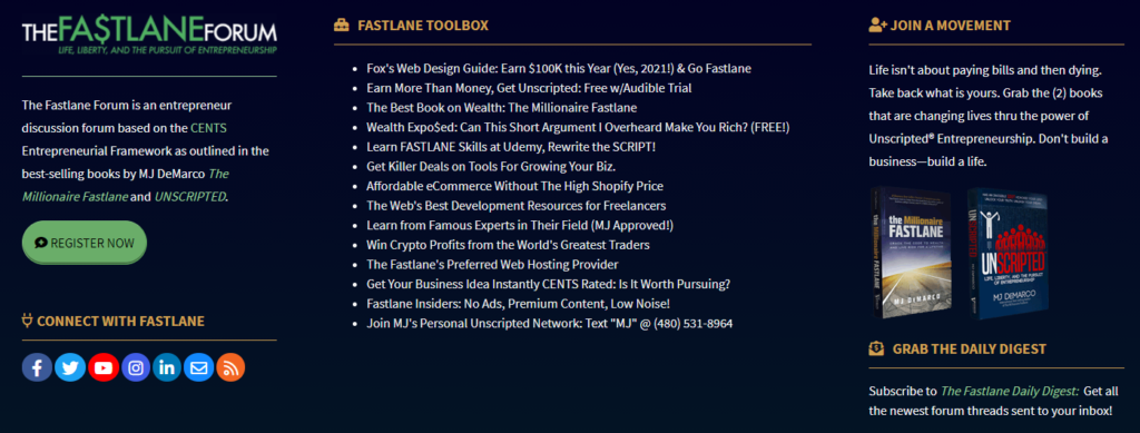 Example of monetizing a forum by selling ebooks - The Fast Lane Forum