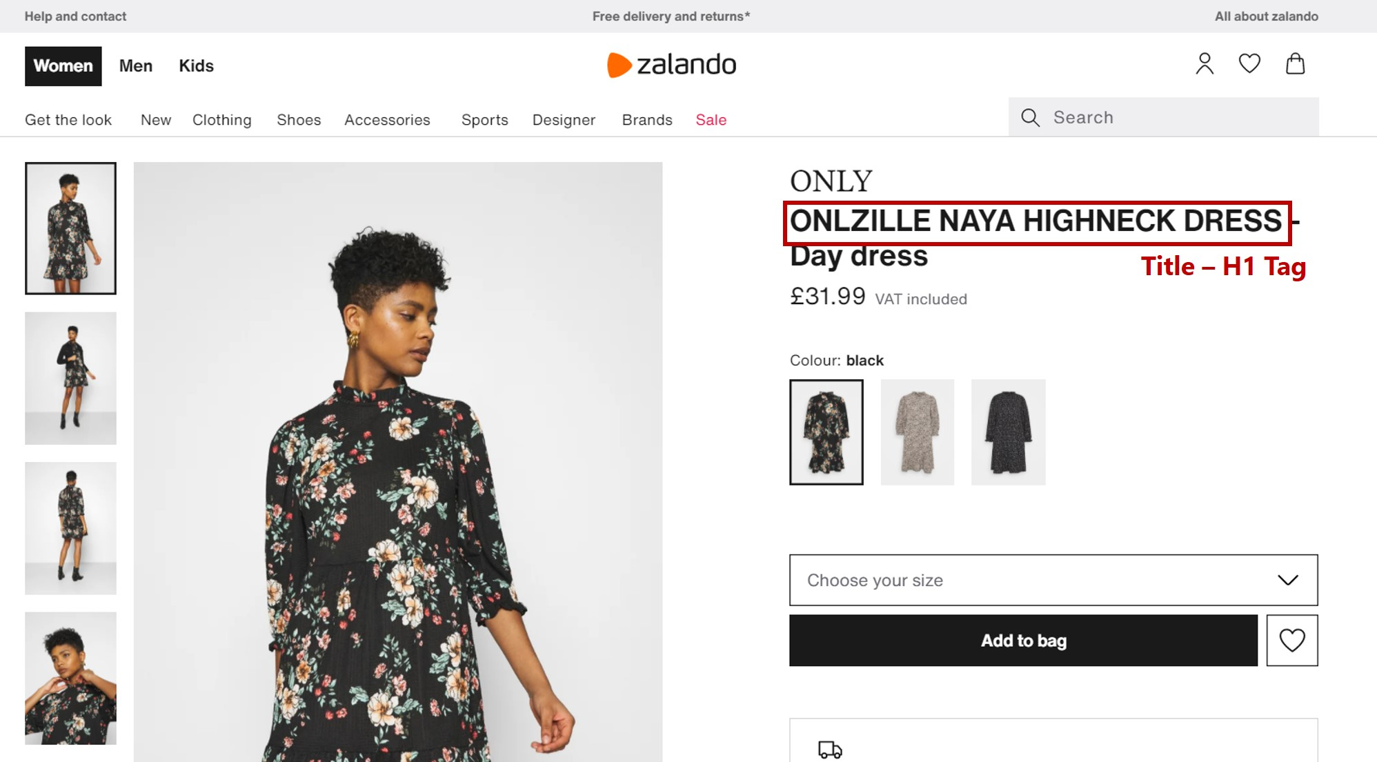 Online store header tags