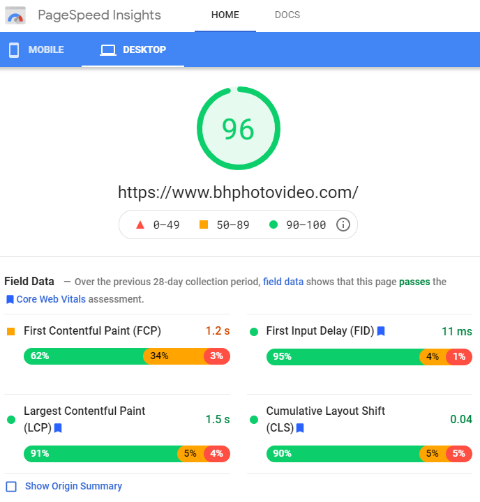 Page Speed Insights - Example