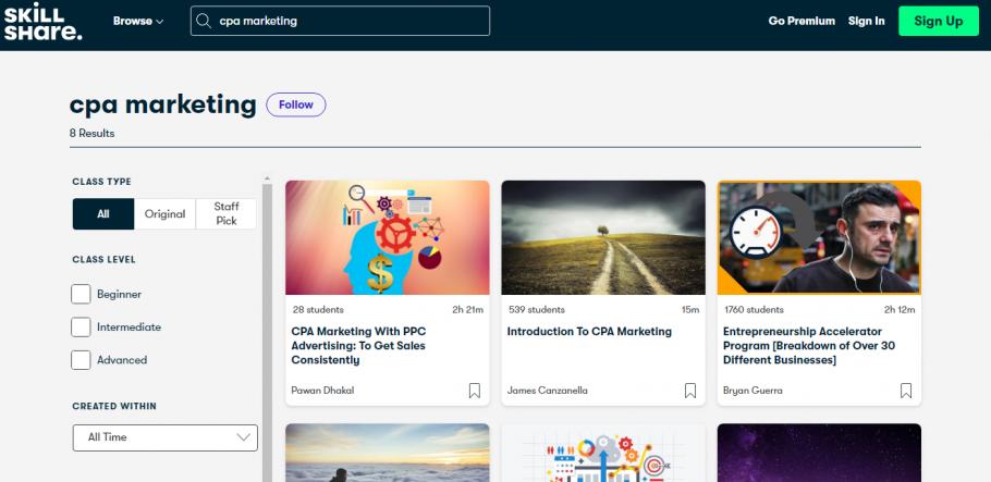 Free CPA Marketing Classes on SkillShare