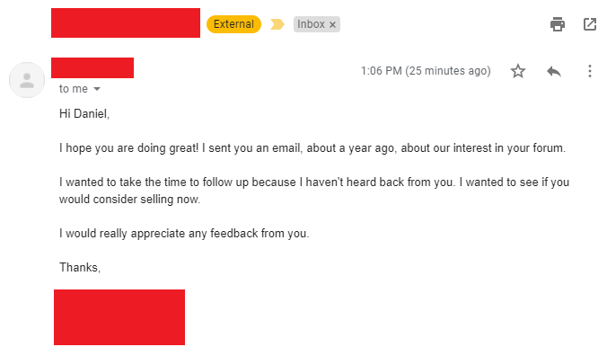 Follow up outreach email for buying an website