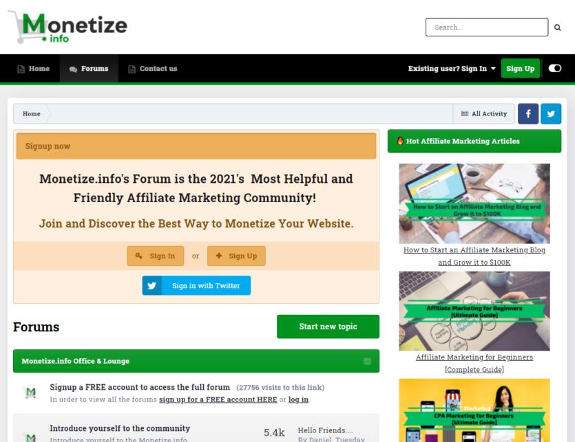 Monetize.info Affiliate Marketing Forum