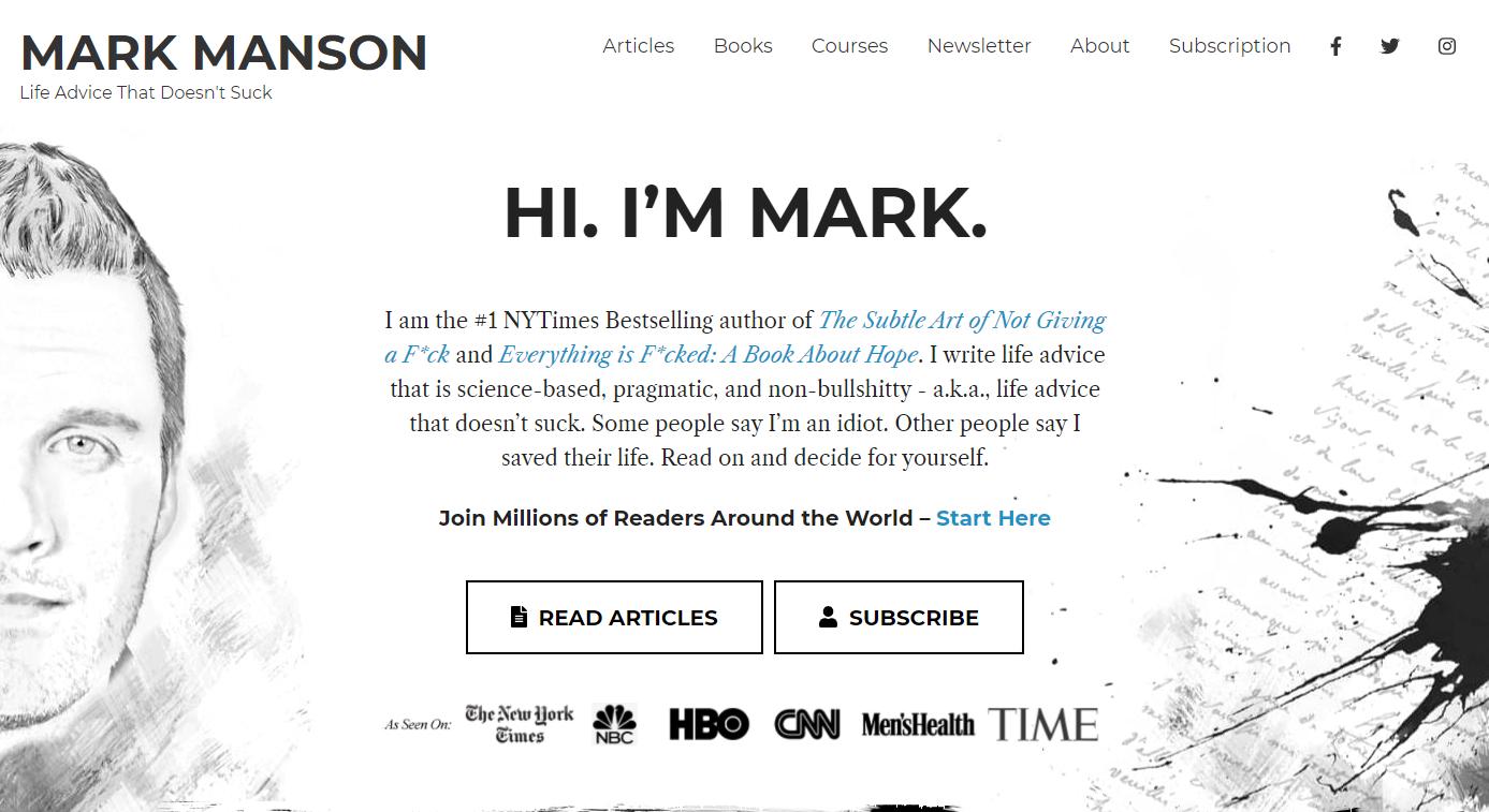 Mark Manson - Personal Development Blog