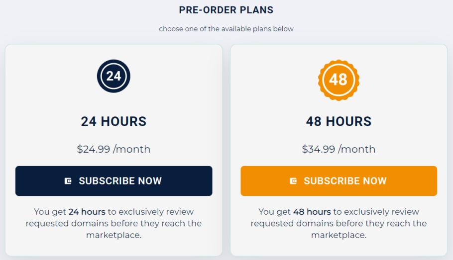 Pre-Orders Pricing Plans