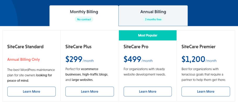 SiteCare Pricing plans