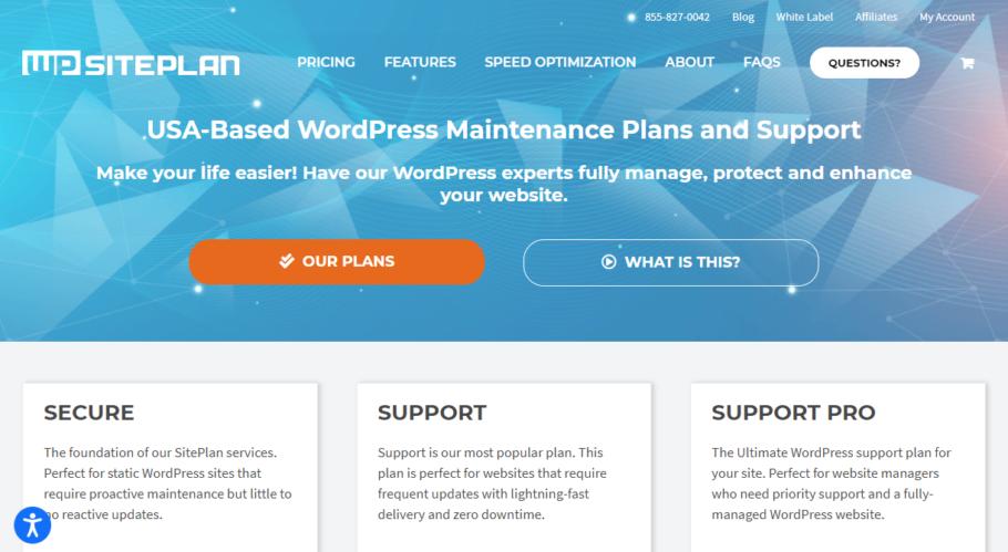 WPSitePlan - Wordpress Maintenance Services