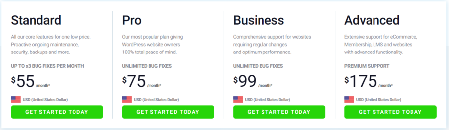 WPTechSupport - Maintenance Services Pricing Plans
