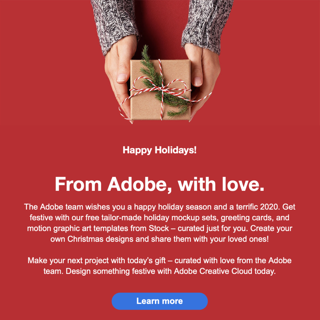 Adobe Holiday Email Example