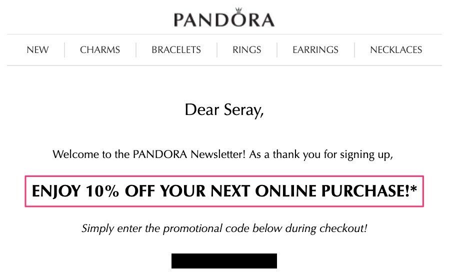Welcome Email Example - Pandora Store