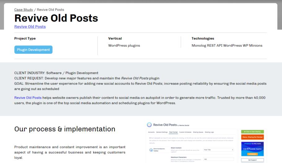 Case study Example - WordPress plugin