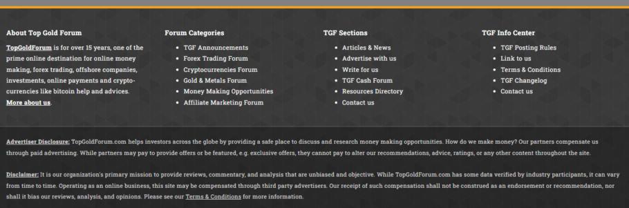 TopGoldForum - Example of a financial website disclaimer